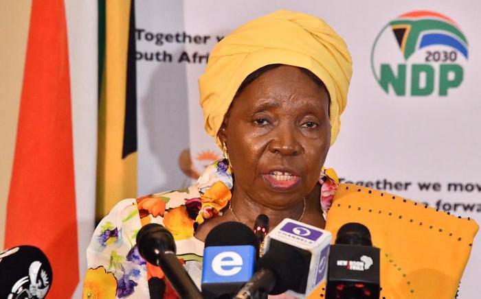 Cooperative Governance Minister Nkosazana Dlamini-Zuma at a briefing on the coronavirus in Pretoria on 19 March 2020. Picture: @PresidencyZA/Twitter