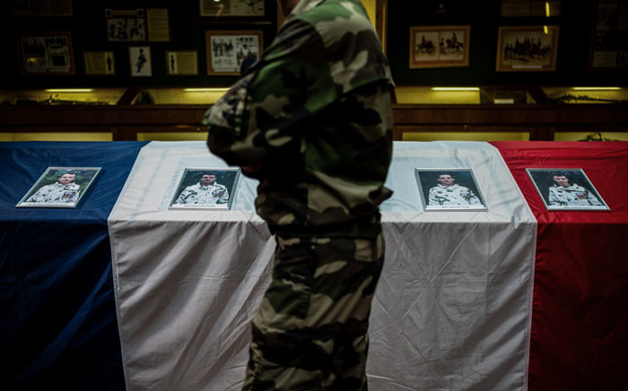 FILE: French Colonel Nicolas de Chilly, pays tribute on 26 November 2019 in Gap's 4th regiment de chasseurs' honours room, to the fourth soldiers of his regiment who died in Mali on 25 November 25. Picture: AFP