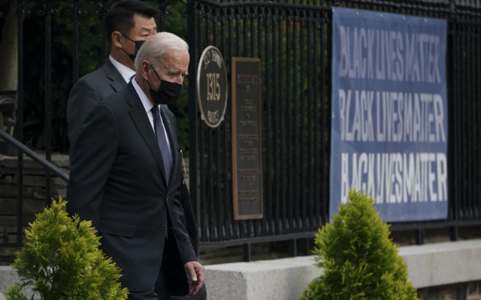 US President Joe Biden leaves the Holy Trinity church in the Georgetown neighborhood of Washington, DC after attending mass there on 29 August 2021. Picture: ANDREW CABALLERO-REYNOLDS /AFP