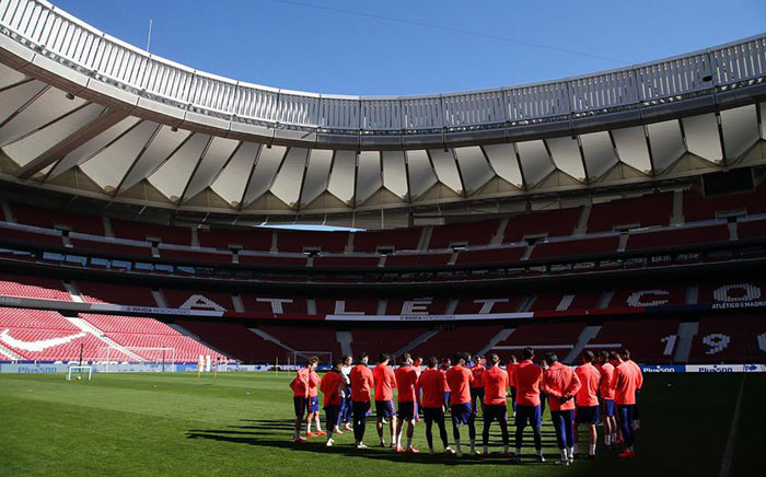 Atletico Madrid gathering for a training session. Picture: @AtleticodeMadrid/Facebook.com