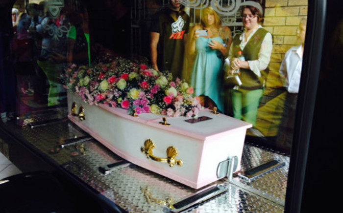 FILE IMAGE: Little Jasmin Pretorius's coffin is carried out during her funeral service in Brakpan on 8 January 2013. Picture: Vumani Mkhize/EWN.