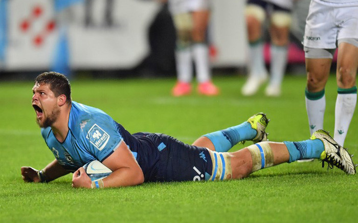Montpellier's South African-born lock Paul Willemse reacts after scoring a try during the French Top 14 rugby union match between Montpellier and Pau on 28 April 2018 at the Altrad stadium in Montpellier, southern France. Picture: AFP.
