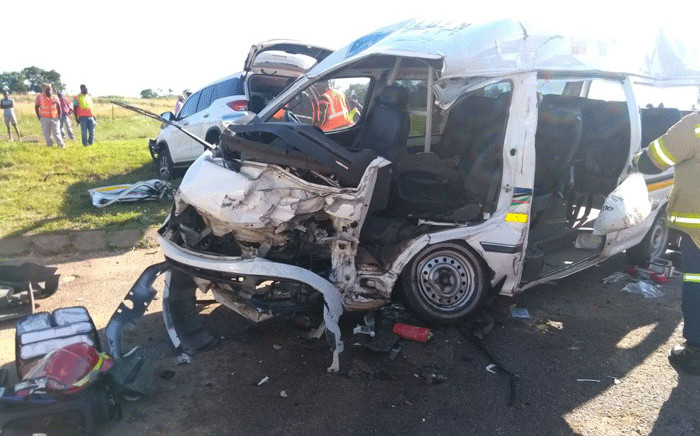 A badly damaged taxi following an accident on the R114 in Centurion on 13 February 2018. Picture: ER24