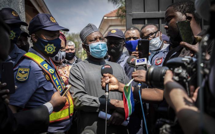 Civil society organisation leaders speak to Nigerian Ambassador Kabiru Bala and hand a memorandum over to him on 23 September 2020. Picture: Abigail Javier/EWN