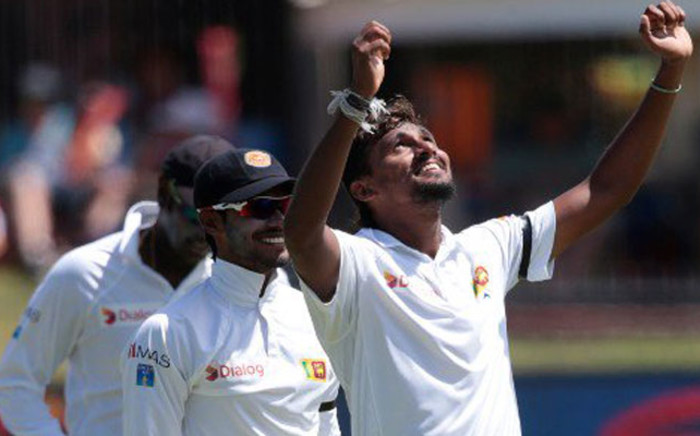 FILE: Sri Lanka players celebrate a wicket. Picture: @OfficialSLC.