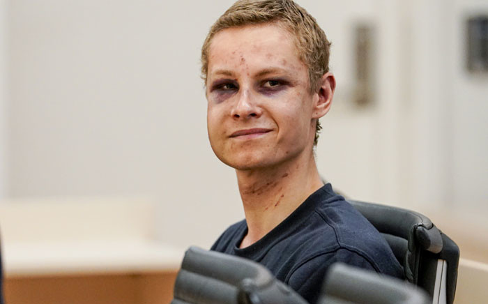 """Terror suspected Philip Manshaus attends a hearing at an Oslo courthouse on 12 August 2019 in Norway. Norwegian 21-year old Philip Manshaus, is formally suspected of murder in the death of his 17-year-old stepsister, and of a """"terrorist act"""" at the Al-Noor mosque on 10 August 2019. Picture: AFP"""