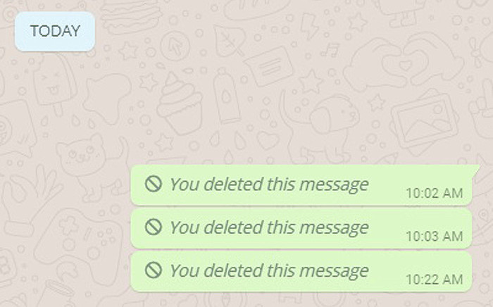 A screengrab shows WhatsApp's latest feature which allows users to unsend messages. Picture: EWN