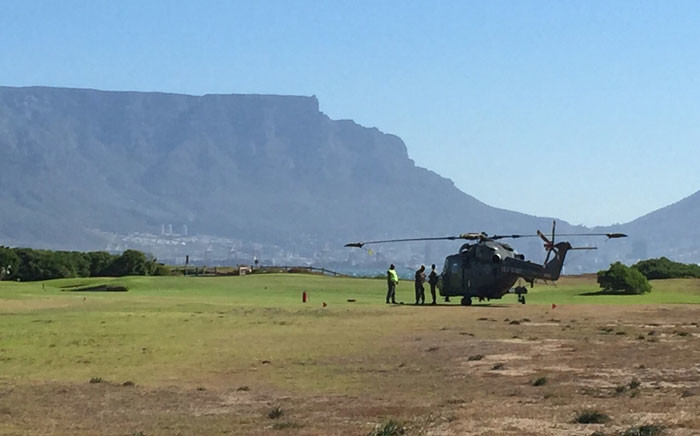A helicopter makes an emergency landing on Milnerton Golf Club. Picture: Thomas Holder/EWN.