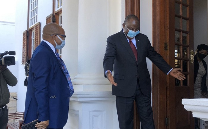 Prime Minister Moeketsi Majoro arriving  at the presidential guest house in Pretoria for a courtesy visit with President Cyril Ramaphosa. Picture: Nthakoana Ngatane/EWN