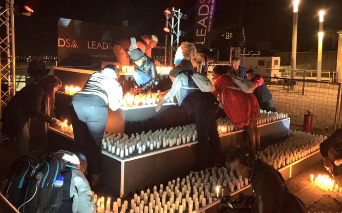 2,067 candles were ready to be lit for the xenophobia vigil at Constitution Hill on Tuesday evening. Picture: Emily Corke/EWN.