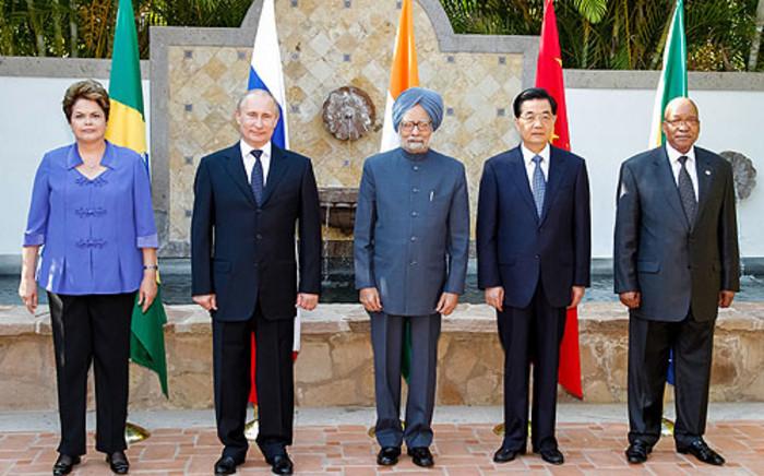 Dilma Rousseff (BRA), Vladimir Putin (RUS), Manmohan Singh (IND), Hu Jintao (CHI) and Jacob Zuma (SA). Picture: AFP