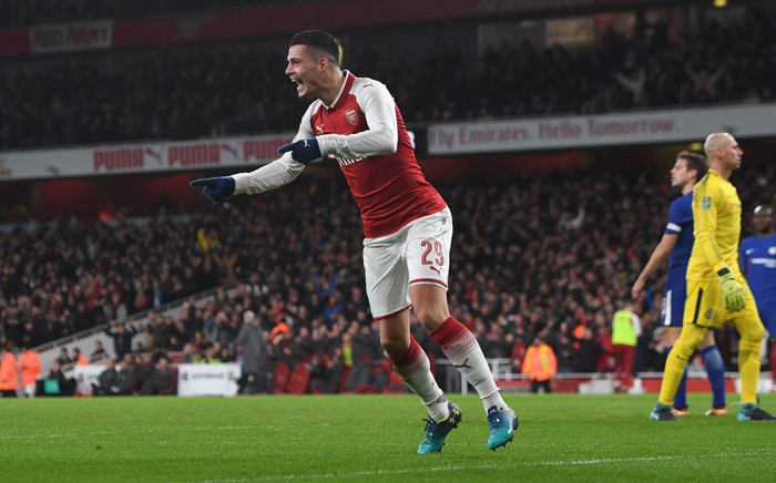 FILE: Arsenal midfielder Granit Xhaka celebrates his goal. Picture: @Arsenal/Twitter