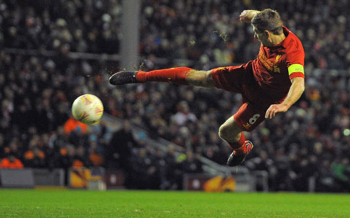 File: Jordan Henderson and Steven Gerrard struck second-half goals for Liverpool to secure a 2-1 away victory at Aston Villa on 31 March 2013. Picture: AFP PHOTO/ANDREW YATES