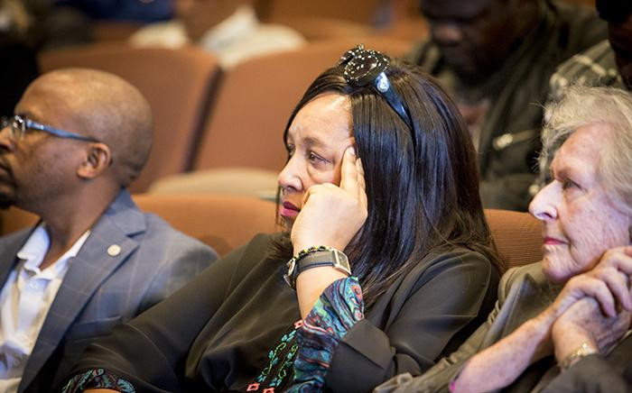 A tear rolls down the cheek of Nelson Mandela's granddaughter Zenani Mandela during a memorial briefing for struggle stalwart Ahmed Kathrada at the Nelson Mandela foundation on 28 March 2017. Picture: Reinart Toerien/EWN.