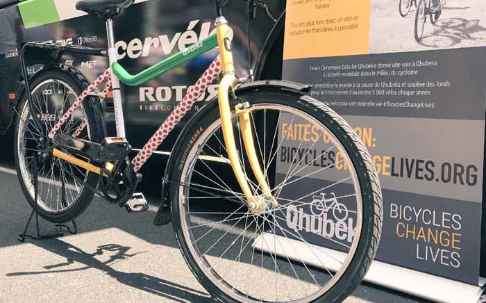 The special Qhubeka bike featuring all four jersey colours that travels on the bus everywhere. Picture: Jean Smyth/EWN.