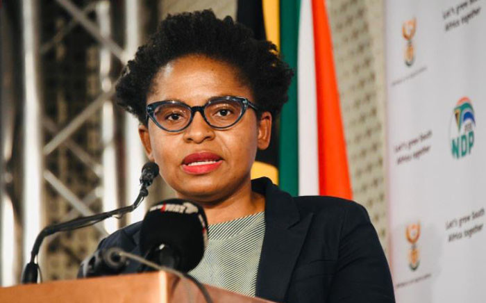 Acting Minister in the Presidency, Khumbudzo Ntshavheni, updates the media on 19 July 2021 in response to the recent violent unrest in KwaZulu-Natal and Gauteng. Picture: Twitter/@GovernmentZA