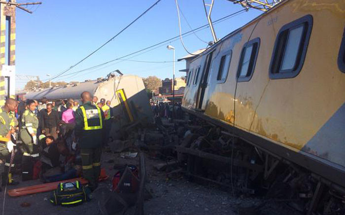 A Metro Express train collided with the back of a MetroPlus train on 28 April 2015.  Picture: @MedixGauteng