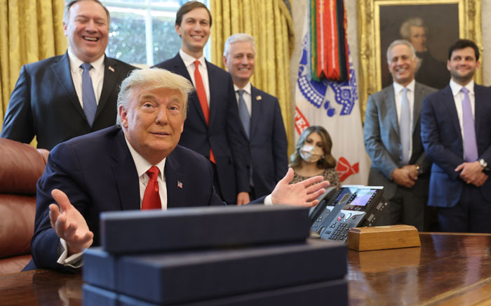US President Donald Trump announces a Sudan-Israel peace agreement in the Oval Office on 23 October 2020 in Washington, DC. Picture: AFP