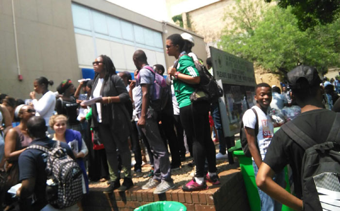 Student protest on Wednesday 14 October 2015 after Wits University proposed an increase of 10.5 percent in tuition fees for 2016. Picture: Ziyanda Ngcobo/EWN