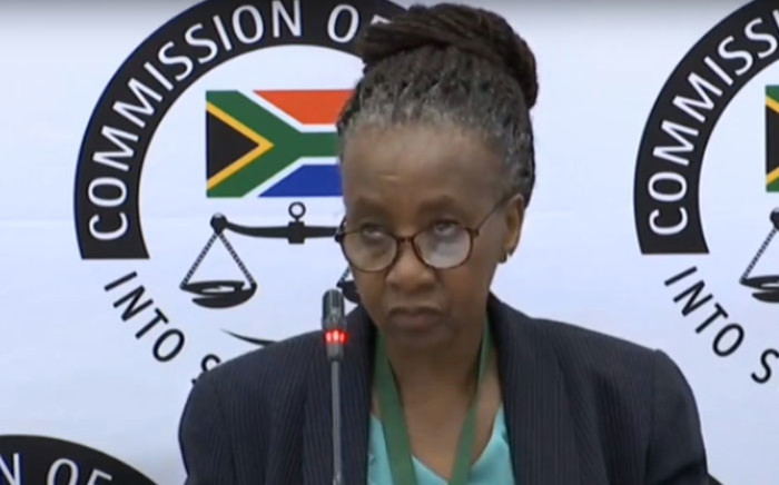 A screengrab of former SABC group CEO Lulama Mokhobo giving testimony at the state capture inquiry on 26 February 2020.