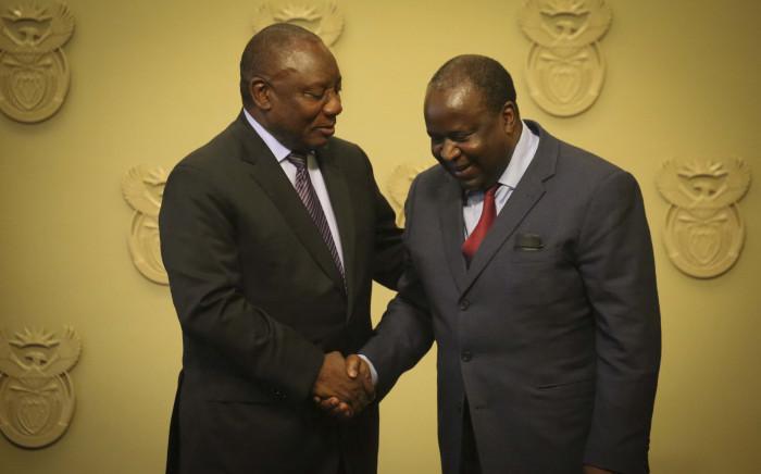 President Cyril Ramaphosa and Finance Minister Tito Mboweni. Picture: EWN.