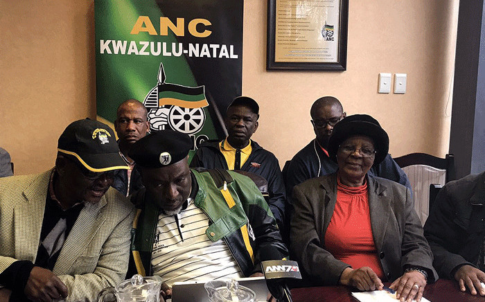 The Kwazulu-Natal MKMVA chair Themba Mavundla (C) pictured during a press briefing along with other MKMVA members. Picture: Ziyanda Ncgobo/EWN.