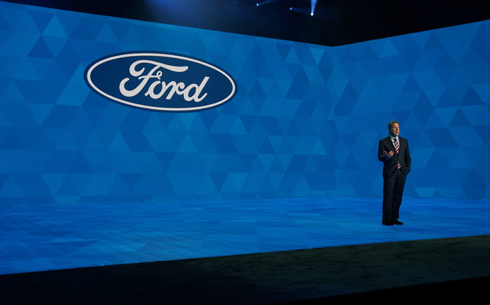 FILE: Ford President and CEO Jim Hackett speaks during day one of the 2019 North American International Auto Show 14 January 2019 at the Cobo Center in Detroit, Michigan. Picture: AFP