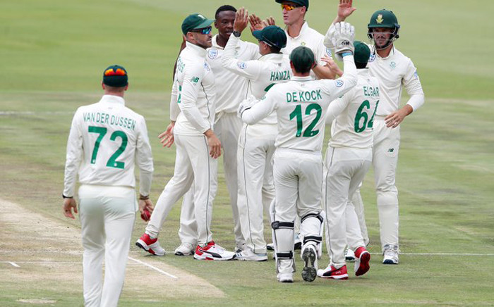 FILE: Proteas players celebrate the fall of a wicket. Picture: CSA/Twitter