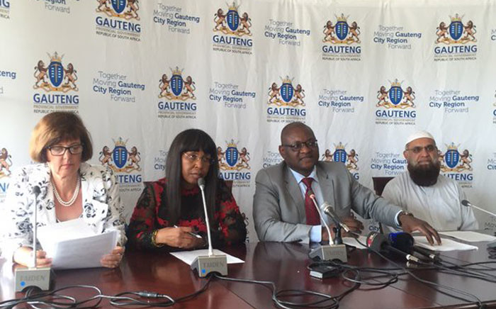 FILE: Gauteng Premier David Makhura accompanied by MECs; Barbara Creecy, Ismael Vadi and Qedani Mahlangu. Picture: Masa Kekana/EWN.