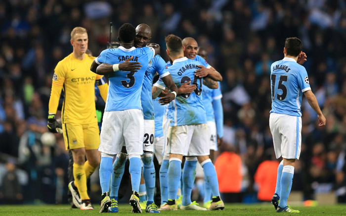 FILE: Manchester City players celebrate their victory against Paris St. Germain in the Uefa Champions League. Picture: Manchester City official Facebook page