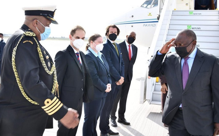 President Cyril Ramaphosa arrived in Berlin, Germany, on 26 August 2021, to attend a G20 Compact with Africa (CwA) meeting in Berlin. Picture: @PresidencyZA/Twitter.