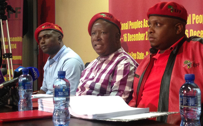 EFF leader Julius Malema and his executive team during a press briefing in Marikana, Thursday 2  July 2015. Picture: Vumani Mkhize