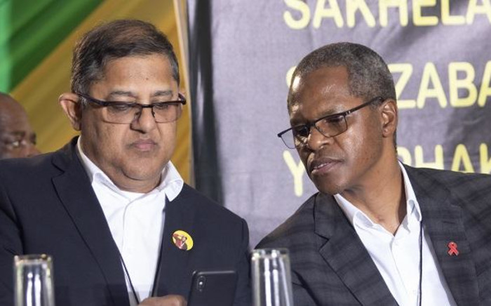 Velenkosini Hlabisa and Narend Singh at the IFP's general elective conference on 23 August 2019 in uLundi, KwaZulu-Natal. Picture: Xanderleigh Dookey/EWN