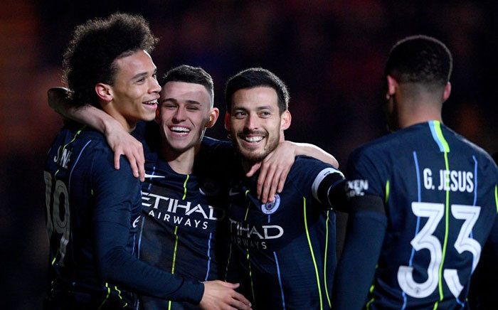 Manchester City players celebrate FA Cup match victory over Newport County. Picture: @ManCity/Twitter.