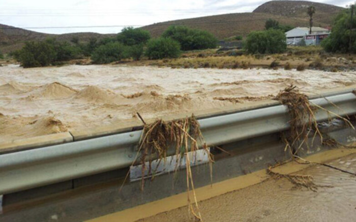 An overflowing river caused by heavy rains in Laingsburg. Picture: @FaanConradie via Twitter