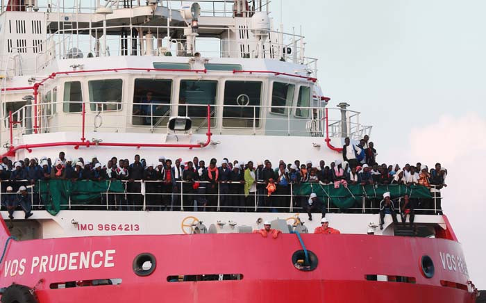 FILE: The Italian rescue ship Vos Prudence run by NGO Medecins Sans Frontieres (MSF) arrives in the early morning of 14 July 2017, in the port of Salerno carrying migrants rescued from the Mediterranean sea. Picture: AFP.