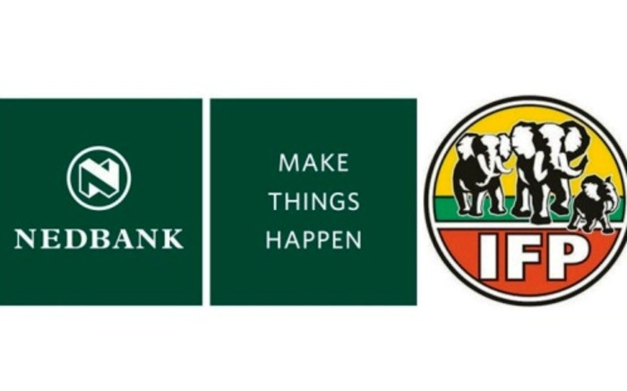 Nedbank's logo and slogan and the Inkatha Freedom Party logo. The IFP is accused of using the Nedbank slogan on its 2014 registration drive posters.
