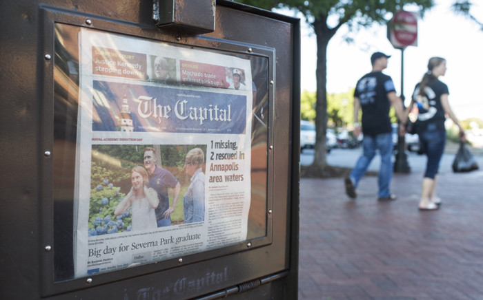 A newspaper stand selling the Capital Gazette is pictured in Annapolis, Maryland, on 28 June 2018. At least five people were killed Thursday when a gunman opened fire inside the offices of the Capital Gazette, a newspaper published in Annapolis, a historic city an hour east of Washington. Picture: AFP.