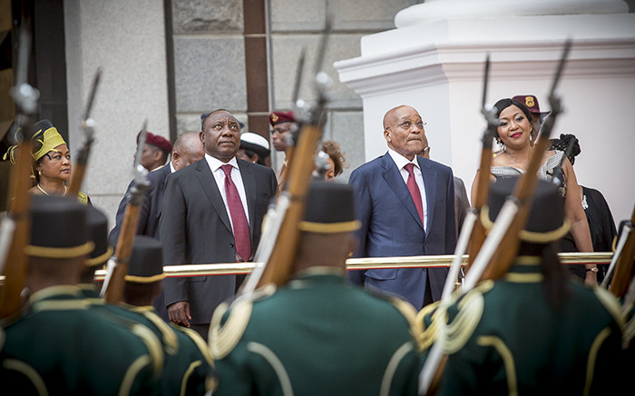 President Jacob Zuma and his deputy, Cyril Ramaphosa, look up at jets flying over Parliament to mark the opening of the Sona on 12 February 2015. Picture: Thomas Holder/EWN