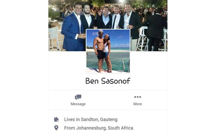 A screengrab of Ben Sasonof's Facebook profile.