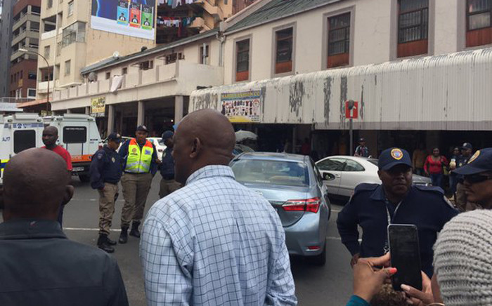 Metered taxi drivers blocked roads in the Johannesburg CBD during a demonstration against the Gauteng transport MEC Ismail Vadi. Picture: Emily Corke/EWN.