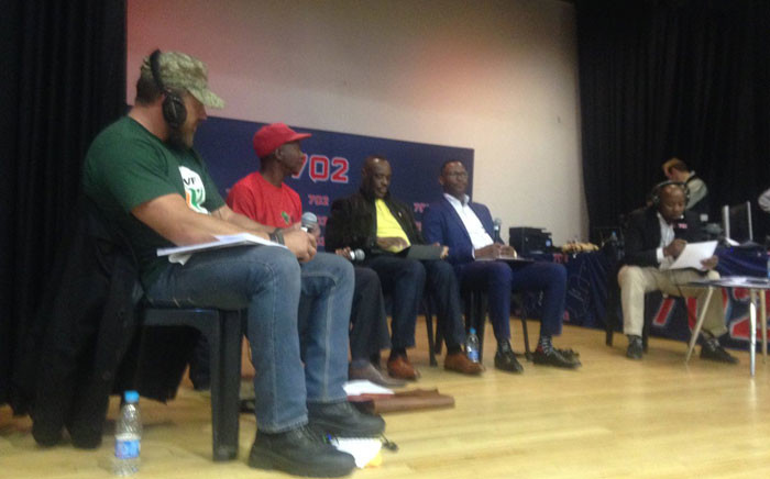 ANC, DA, EFF and the Freedom Front Plus representatives at the Meyerton Community Hall presenting their parties' plan for the municipality. Picture: Masa Kekana/EWN.