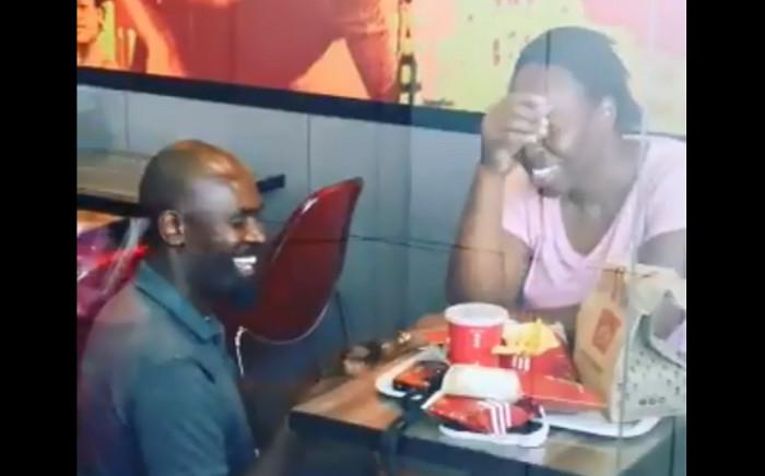 Hector Mkansi and Nonhlanhla Soldaat at KFC. Picture: Screengrab