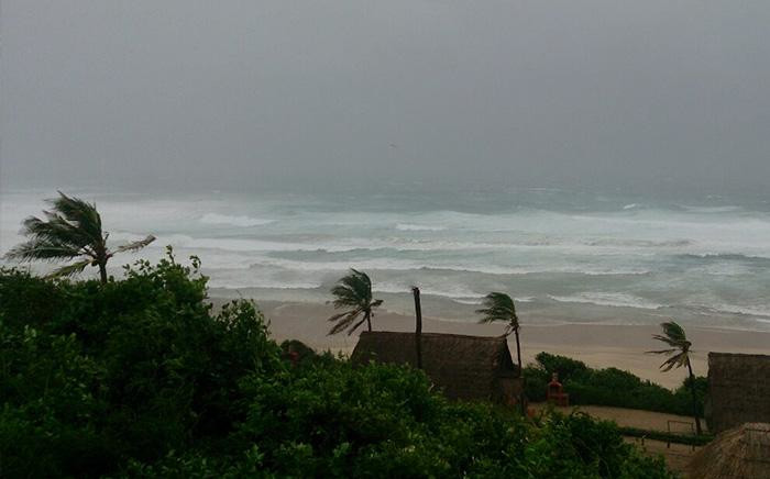 Strong winds and rain seen in and around Inhambane, Mozambique as Cyclone Dineo move through the area. Picture: Lee Booysen/Paindane Beach Resort.