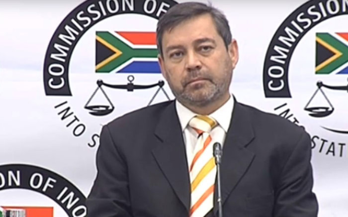 A screengrab of Roy Jankielsohn, a member of the Free State legislature, giving testimony at the state capture inquiry on 22 July 2019.