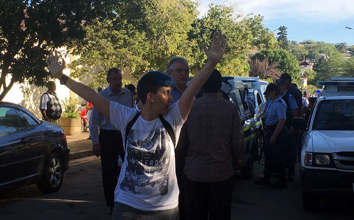 Rhodes University students protested on 20 April 2016 and called on management to deal with students accused of rape. Picture; Govan Whittles/EWN.