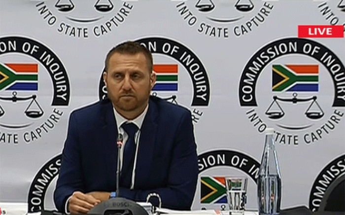 Former Special Investigating Unit (SIU) investigator Clint Oellermann testifying before the Zondo Commission of Inquiry on 1 April 2019. Picture: YouTube screengrab.