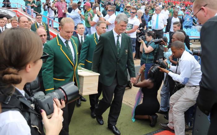 Joost van Der Westhuizen's coffin being brought in by Francois Pienaar and other former Springbok teammates at Loftus Versveld in Pretoria. Picture: Christa Eybers/EWN.