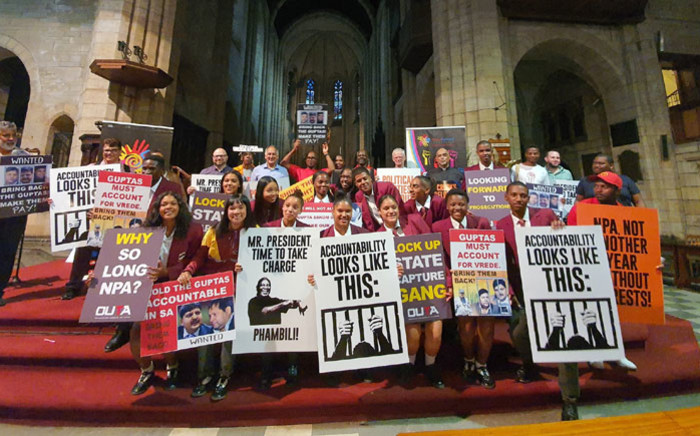 Participants of a rally organised by the Ahmed Kathrada Foundation at the St George's Cathedral in Cape Town on 13 February 2020. Picture: @KathradaFound/Twitter