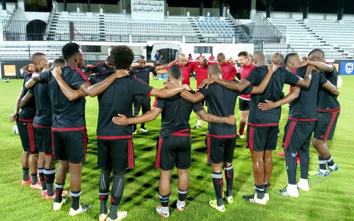 Orlando Pirates players have a moment of prayer after their training session in Tunisia for their Caf Confederation cup. Picture: Facebook.